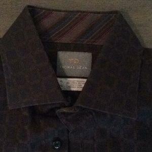 Thomas Dean brown long sleeve shirt